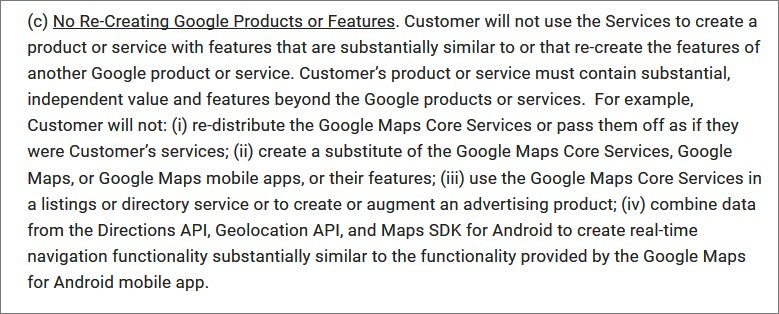 Part of Google Maps Platform Terms of Use