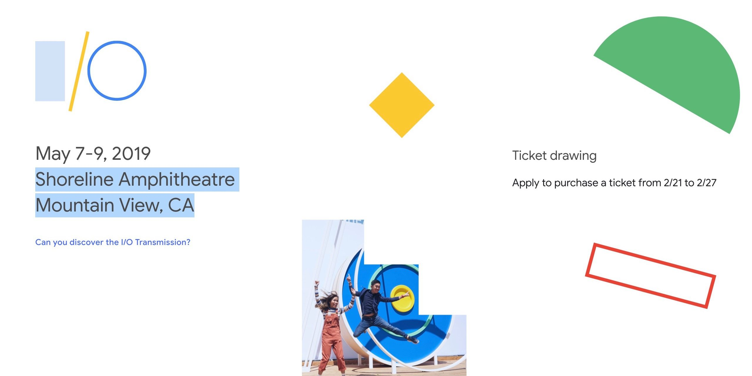 Google I/O 2019 ticket applications run February 21-27 as puzzle remains unsolved
