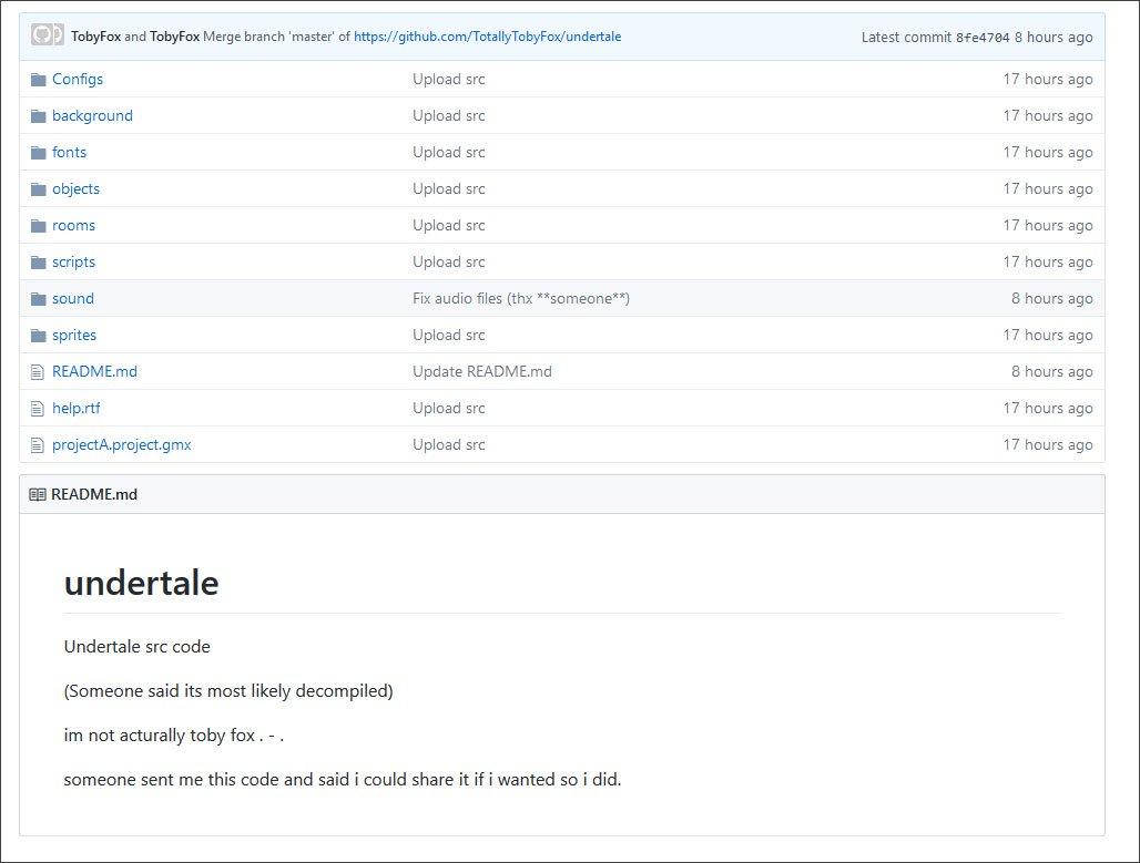 Undertale Source GitHub Repository
