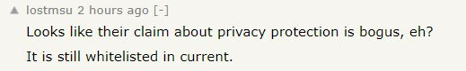 Comment from Y Combinator's Hacker News